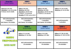 HORARIOS TEMPORADA 2016-2017
